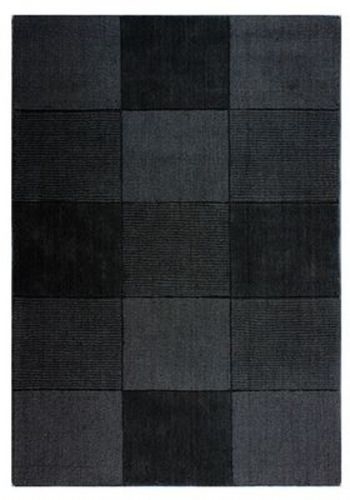 Wool Squares Black Chequered Rug